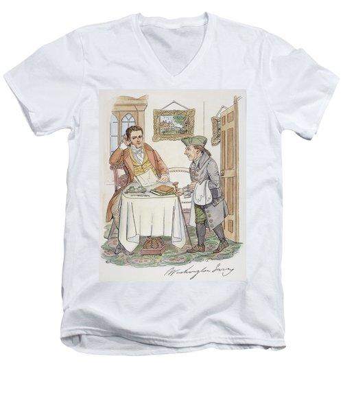 Men's V-Neck T-Shirt featuring the painting Irving & Knickerbocker by Granger