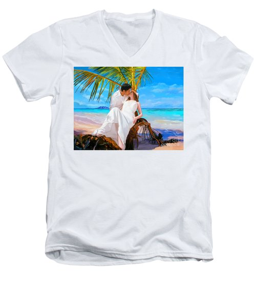 Men's V-Neck T-Shirt featuring the painting Island Honeymoon by Tim Gilliland