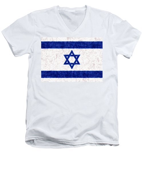 Israel Star Of David Flag Batik Men's V-Neck T-Shirt