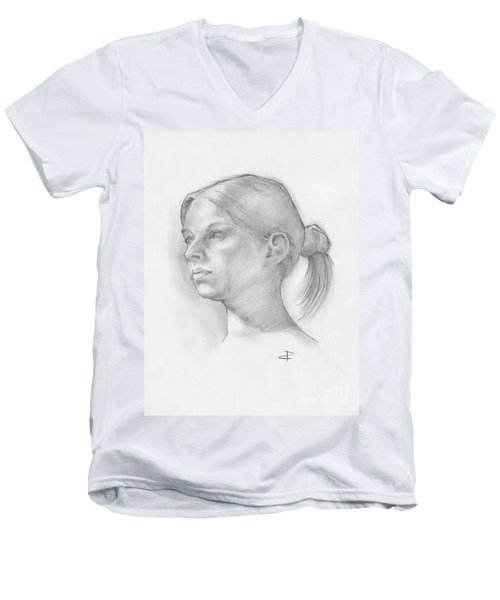 Men's V-Neck T-Shirt featuring the drawing Issabell by Paul Davenport
