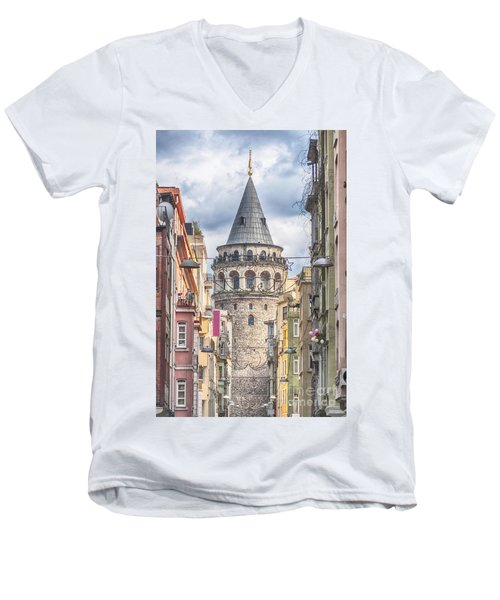 Istanbul Galata Tower Men's V-Neck T-Shirt