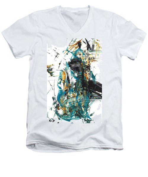 Men's V-Neck T-Shirt featuring the painting It Went That Way 135.090710 by Kris Haas