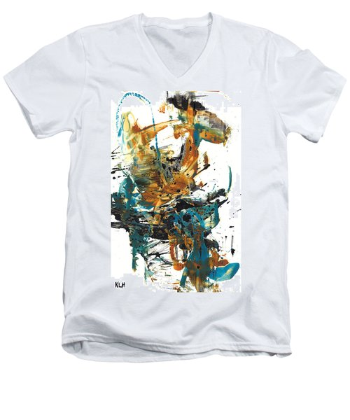 Men's V-Neck T-Shirt featuring the painting It Went This Way 136.090710 by Kris Haas
