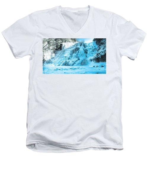 Ithaca Falls In Winter Men's V-Neck T-Shirt