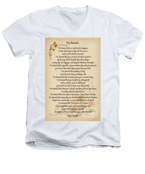 I've Learned Men's V-Neck T-Shirt by Olga Hamilton