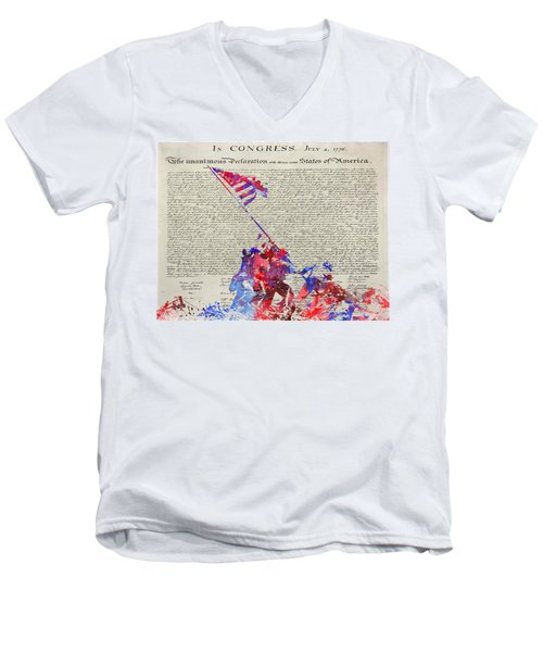 Iwo Jima Declaration Of Freedom Men's V-Neck T-Shirt