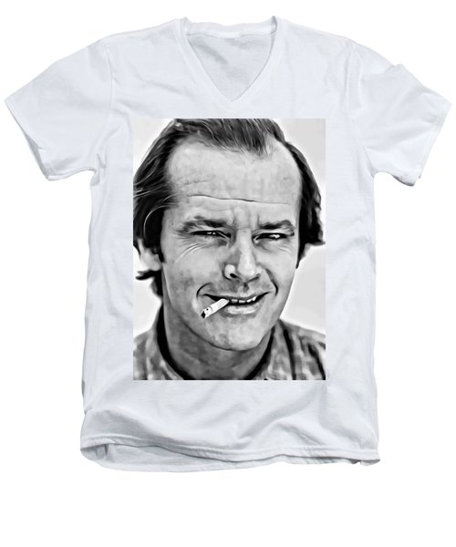 Jack Nicholson Men's V-Neck T-Shirt by Florian Rodarte