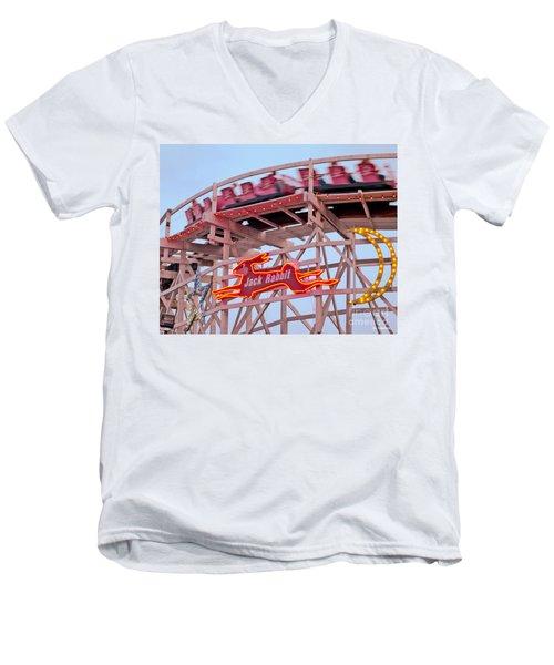 Jack Rabbit Coaster Kennywood Park Men's V-Neck T-Shirt by Jim Zahniser