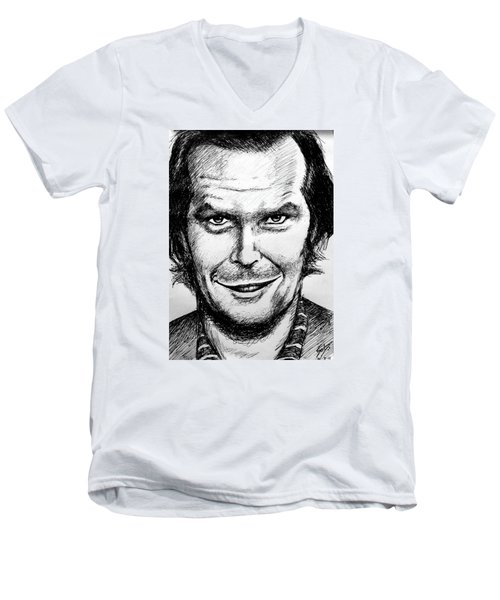Jack Nicholson #2 Men's V-Neck T-Shirt by Salman Ravish