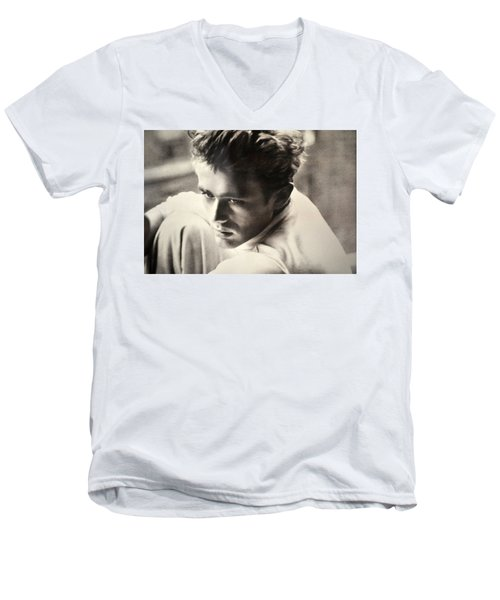 James Dean Black And White Men's V-Neck T-Shirt by Jay Milo