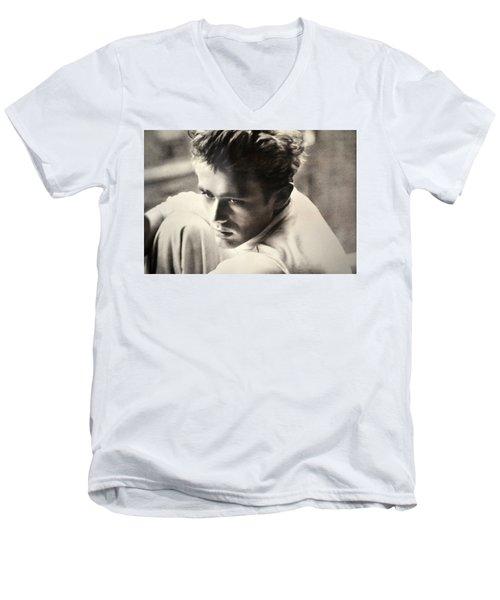 James Dean Black And White Men's V-Neck T-Shirt