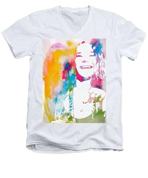 Janis Joplin Watercolor Men's V-Neck T-Shirt
