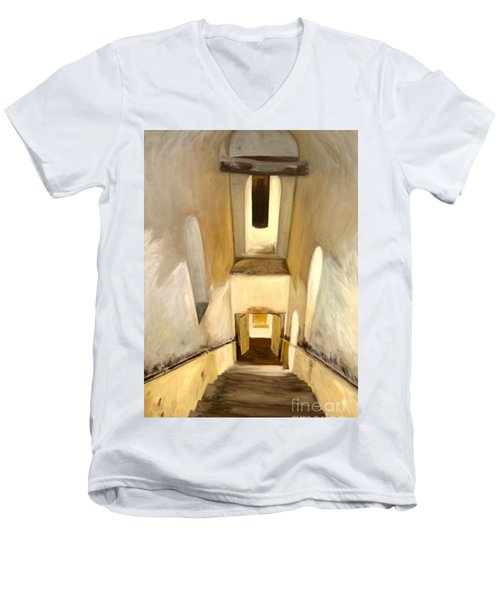 Men's V-Neck T-Shirt featuring the painting Jantar Mantar Staircase by Mukta Gupta