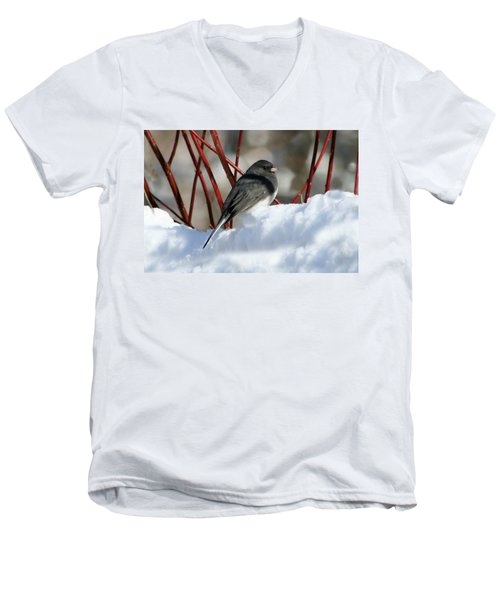 January Snow In New England Men's V-Neck T-Shirt by Barbara S Nickerson