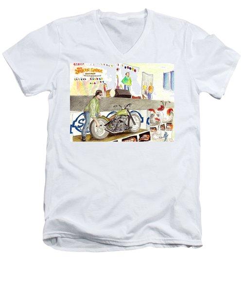 Jay Allen At The Broken Spoke Saloon Men's V-Neck T-Shirt by Albert Puskaric