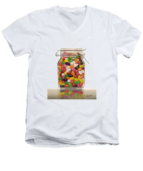 Men's V-Neck T-Shirt featuring the painting Jelly Beans by Ferrel Cordle