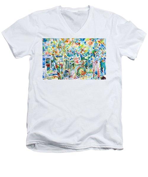Jerry Garcia And The Grateful Dead Live Concert - Watercolor Portrait Men's V-Neck T-Shirt by Fabrizio Cassetta