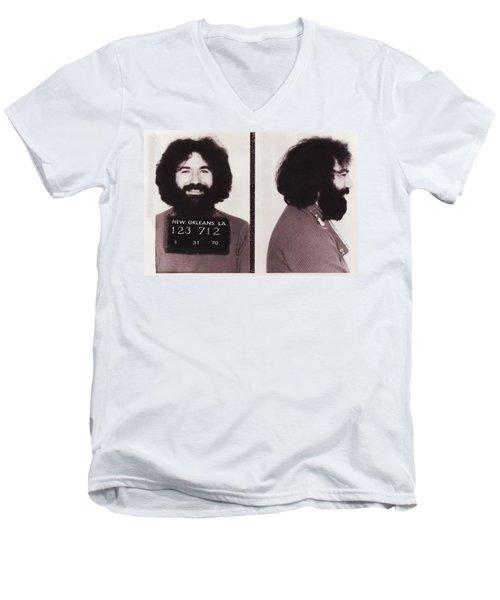Jerry Garcia Mugshot Men's V-Neck T-Shirt