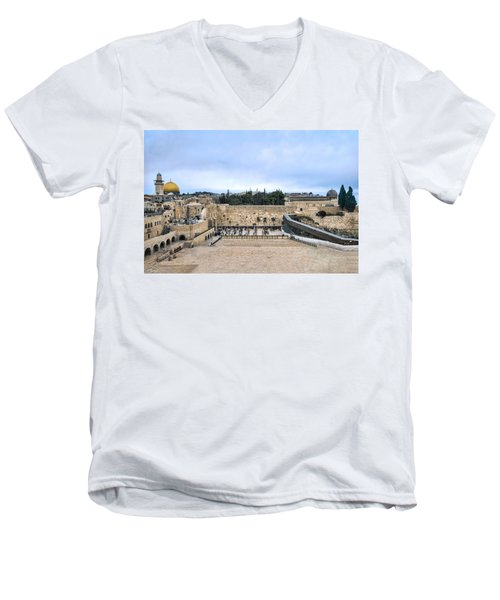 Jerusalem The Western Wall Men's V-Neck T-Shirt by Ron Shoshani