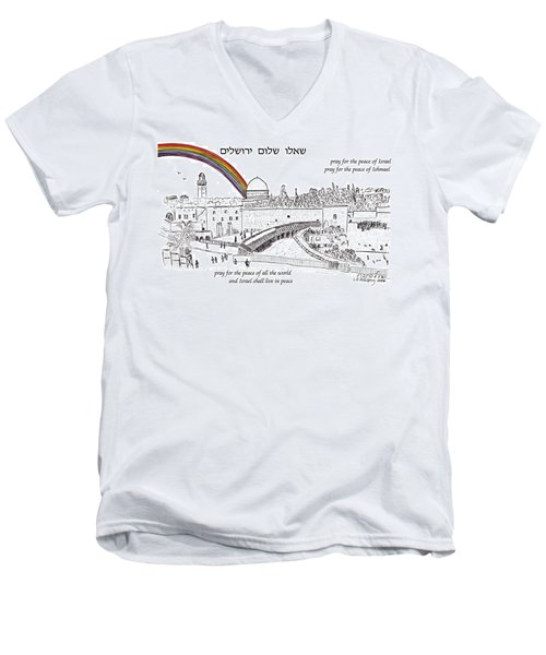 Jerusalem With Rainbow Men's V-Neck T-Shirt