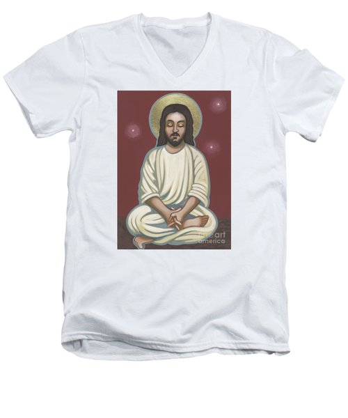Men's V-Neck T-Shirt featuring the painting Jesus Listen And Pray 251 by William Hart McNichols