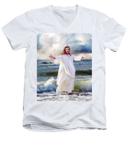 Jesus On The Sea Men's V-Neck T-Shirt