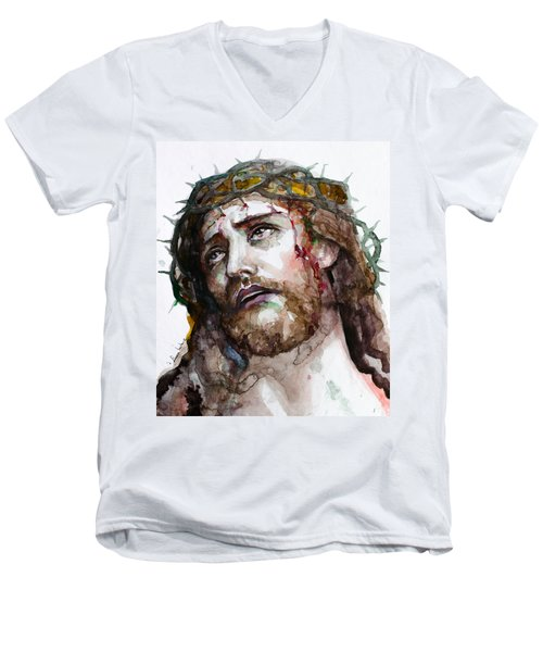 Men's V-Neck T-Shirt featuring the painting The Suffering God by Laur Iduc