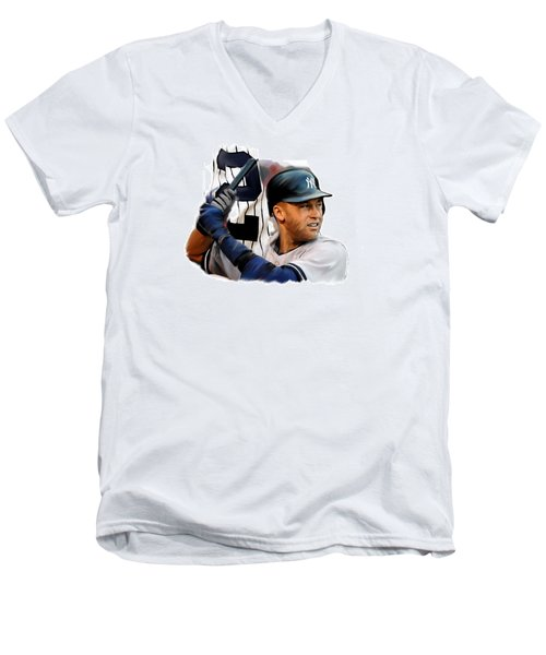 Jeter II  Derek Jeter Men's V-Neck T-Shirt by Iconic Images Art Gallery David Pucciarelli