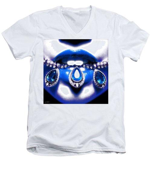 Jewelips Soft Blue Men's V-Neck T-Shirt