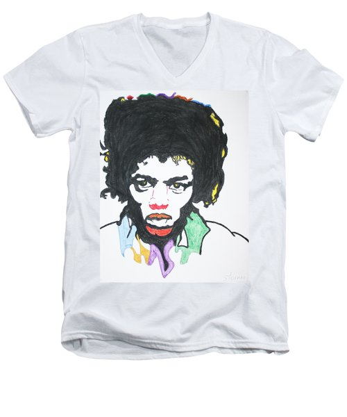 Men's V-Neck T-Shirt featuring the painting Jimi Hendrix by Stormm Bradshaw
