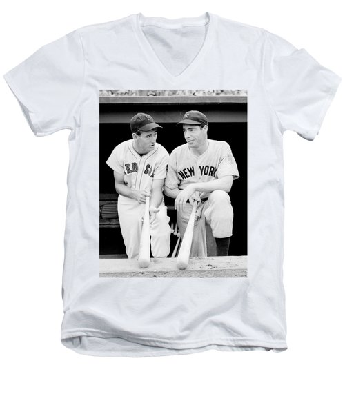 Joe Dimaggio And Ted Williams Men's V-Neck T-Shirt