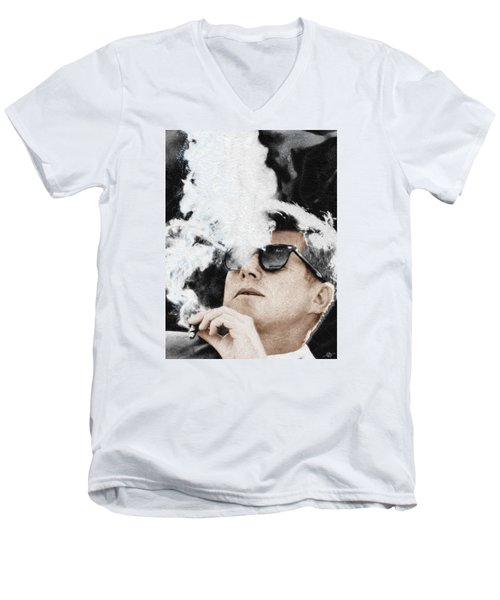 John F Kennedy Cigar And Sunglasses Men's V-Neck T-Shirt by Tony Rubino