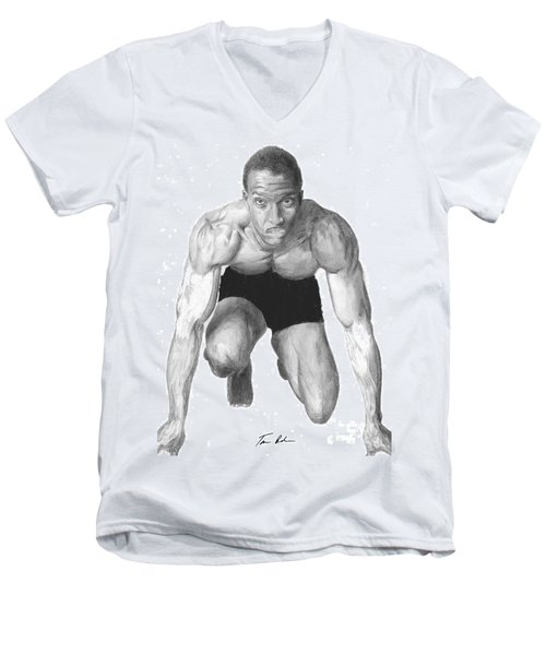 Men's V-Neck T-Shirt featuring the drawing Johnson by Tamir Barkan
