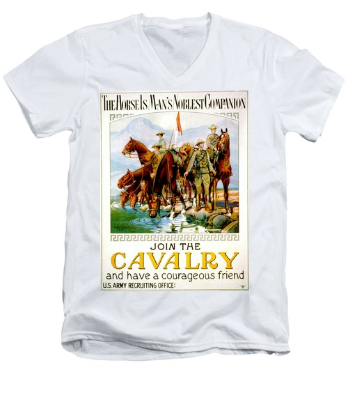 Join The Cavalry 1920 Men's V-Neck T-Shirt by Padre Art