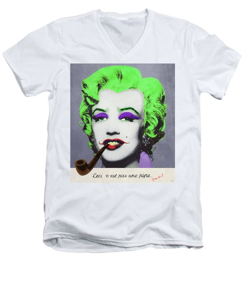 Joker Marilyn With Surreal Pipe Men's V-Neck T-Shirt by Filippo B