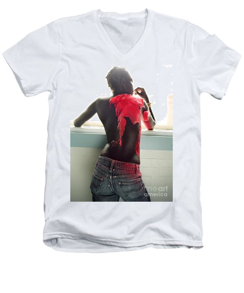Men's V-Neck T-Shirt featuring the photograph Josephine Red by Rebecca Harman