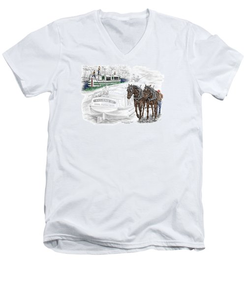 Journeys On The Canal - Canal Boat Print Color Tinted Men's V-Neck T-Shirt