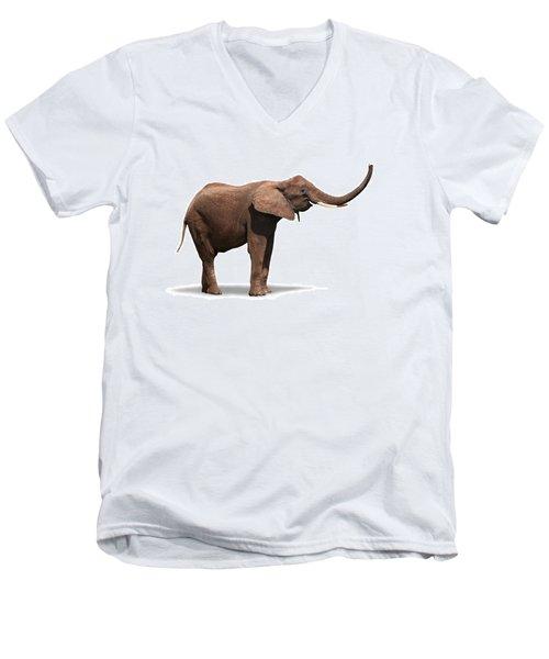 Joyful Elephant Isolated On White Men's V-Neck T-Shirt