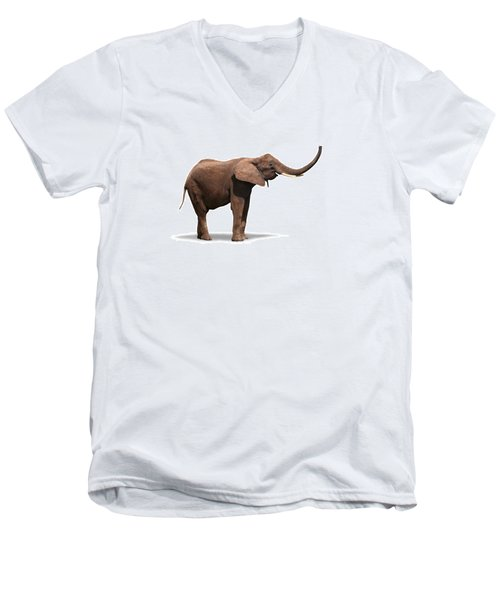 Joyful Elephant Isolated On White Men's V-Neck T-Shirt