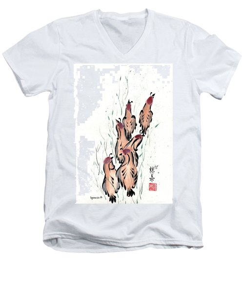 Men's V-Neck T-Shirt featuring the painting Joyful Excursion by Bill Searle