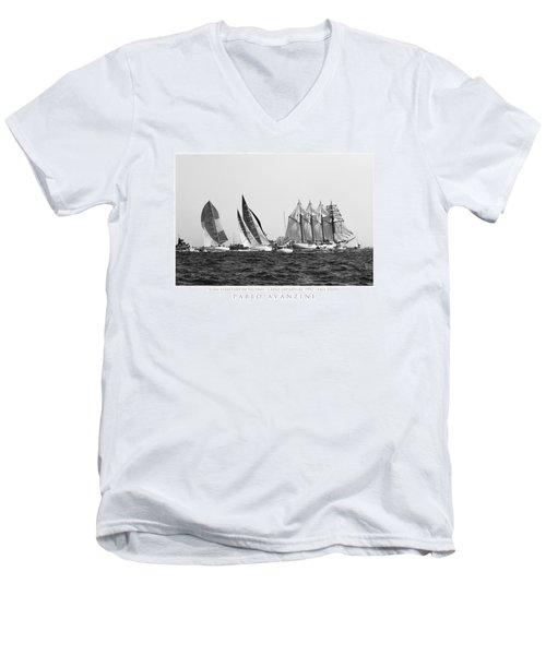 Men's V-Neck T-Shirt featuring the photograph Juan Sebastian Elcano Departing The Port Of Cadiz by Pablo Avanzini