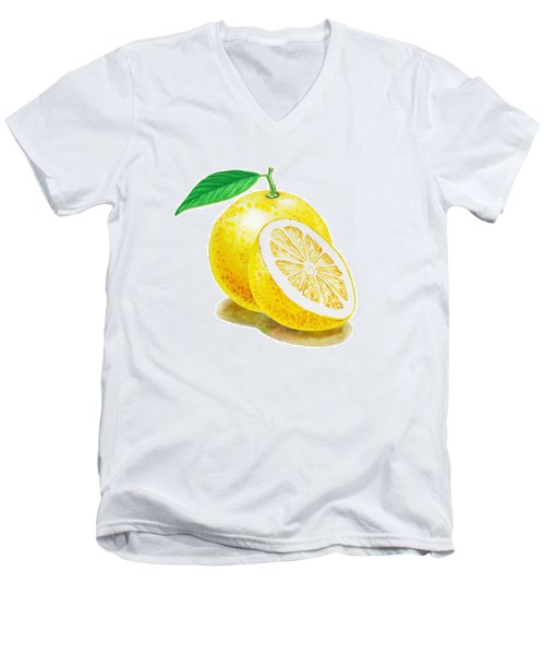 Juicy Grapefruit Men's V-Neck T-Shirt by Irina Sztukowski