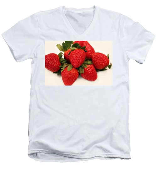 Juicy Strawberries Men's V-Neck T-Shirt by Barbara Griffin