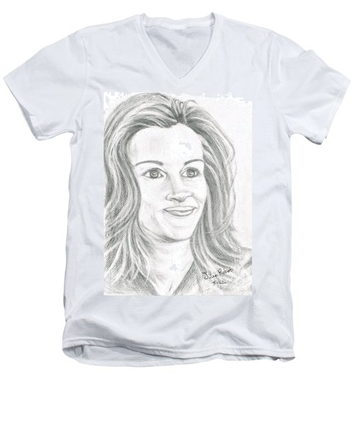Men's V-Neck T-Shirt featuring the drawing Julia Roberts by Teresa White