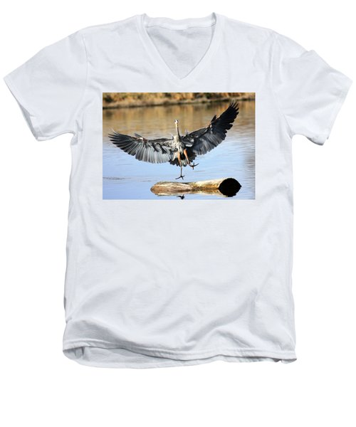Men's V-Neck T-Shirt featuring the photograph Jumping For Joy by Shane Bechler