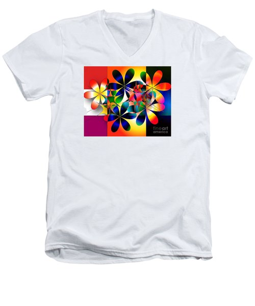 Men's V-Neck T-Shirt featuring the digital art Just A Note by Iris Gelbart