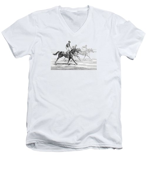 Just Finished - Horse Racing Print Men's V-Neck T-Shirt
