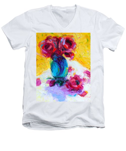 Just Past Bloom - Roses Still Life Men's V-Neck T-Shirt