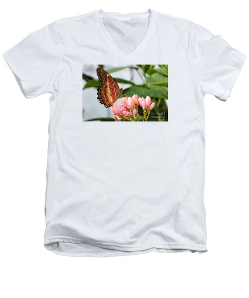 Just Pink Butterfly Men's V-Neck T-Shirt by Shari Nees