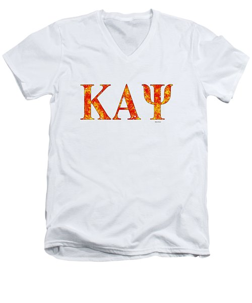 Men's V-Neck T-Shirt featuring the digital art Kappa Alpha Psi - White by Stephen Younts